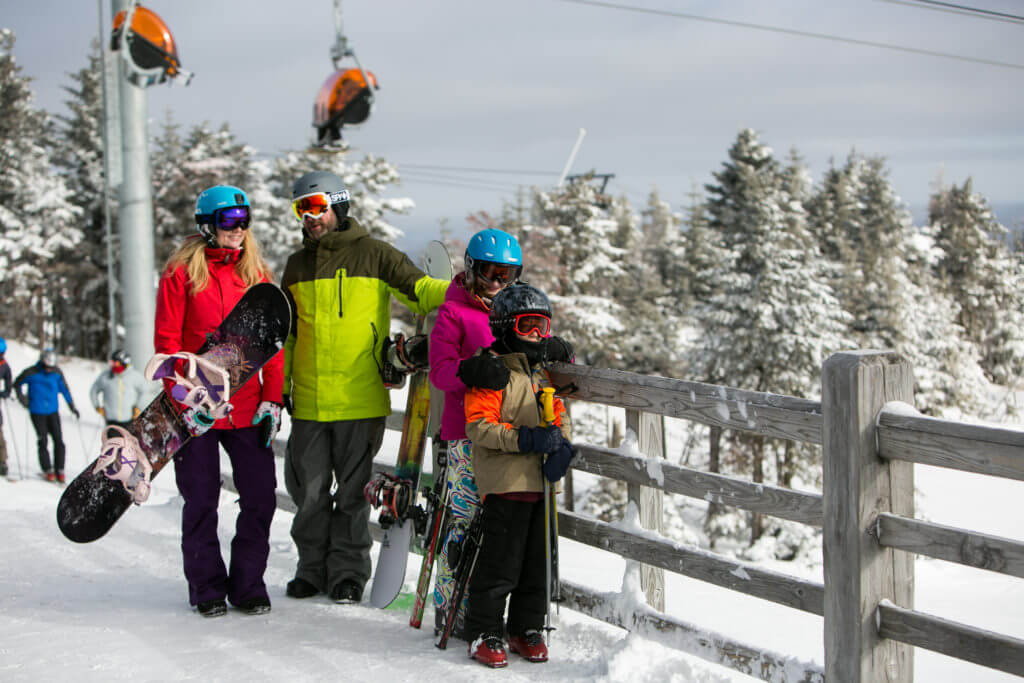 Family skiing and snowboarding at Killington