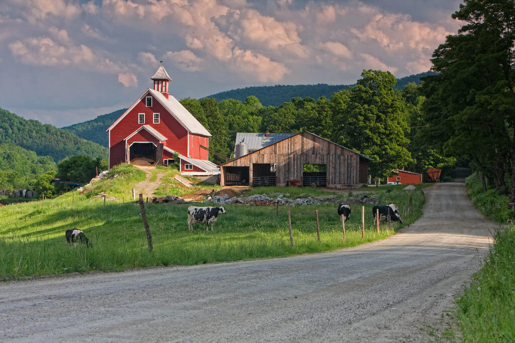Barn and cattle pasture in Stockbridge, Vermont